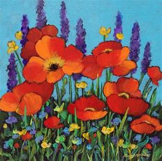 """Daily Paintworks - """"Poppies and Friends"""" - Original Fine Art for Sale - © Nancy F. Morgan"""