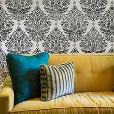 Indian Paisley Damask Stencil for curtains in the dining room