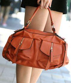 Zip Detail Faux Leather Satchel