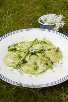 Homemade asparagus and wild garlic ravioli