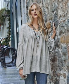 Moon Shadow Top - oversized V-neck top with billowing sleeves and elastic cuffs.