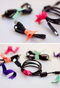 Organize Your Cables with Ribbon Twists | 23 Life Hacks Every Girl Should Know | Easy Organization Ideas for Bedrooms