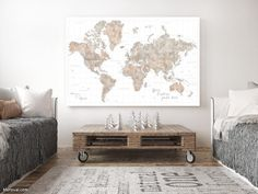 Personalized large & highly detailed world map canvas print or push pin map in watercolor neutrals. Personalized large and highly detailed world map gallery wrap canvas print or push pin map, in watercolor neutrals (light grey, light brown, white). The map comes with many cities, capitals, countries, states and mayor rivers labelled.