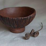 Mushroom small decorative bowl, red earthenware, milk-fired