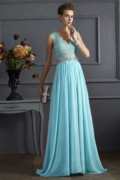 2014 New Arrival V Neck Tulle&Lace Back A Line Exquisite Chiffon Beading Prom Dress