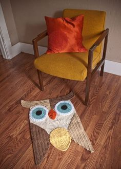 Crochet owl rug. Great Color and Design. Etsy. | best stuff