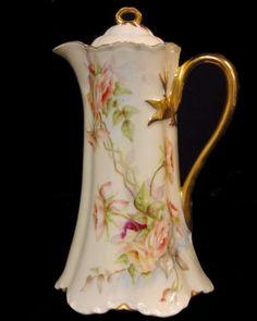 Antique Haviland Limoges France Baltimore Rose Chocolate Pot Pitcher Ranson Gold #HavilandLimogesChina