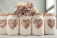 One Rose Gold Heart Painted Mason Jar Decor Vase Centerpiece, Valentines Day Decor, Rose Gold Glitter Heart Chalk Paint Mason Jars, Painted Mason Jars, Pot Mason Diy, Mason Jar Crafts, Glitter Mason Jars, Heart Painting, Mason Jar Centerpieces, Mason Jar Lighting, Decorated Jars
