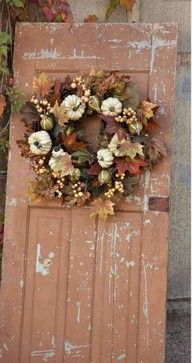 Autumn Accessories - Park Hill Collection Gourde Blanche Wreath, 28""