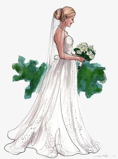 Hand-painted bride, Marry, Wedding, Wedding Dress PNG Image