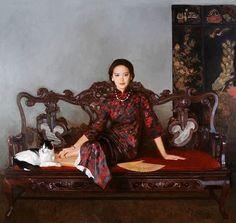 Les Femmes Elégantes. Les peintures à l'huile de Cheng Yanning.