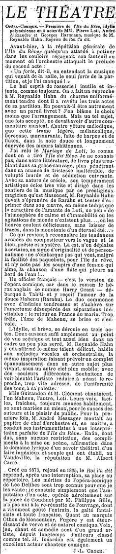 25 mars 1898 - Première de L'Île du rêve (J.L. Croze)