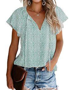 Sexy Shirts, Casual Shirts, Women's Casual, Work Casual, Trendy Tops For Women, Blouses For Women, Ruffle Shorts, Ruffle Sleeve, Denim Shorts