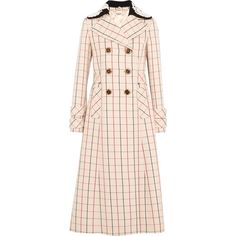 MIU MIU   Guipure lace-trimmed checked wool coat (90.720 RUB) ❤ liked on Polyvore featuring outerwear, coats, woolen coat, checkered coat, multi coloured coat, miu miu coat and pink wool coats