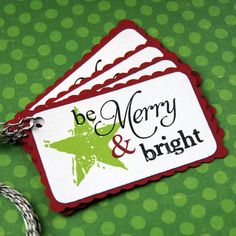 Be Merry & Bright star Christmas Tags or Package by scrapbits