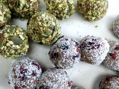 Cashew date bliss balls coated in smashed pumpkin seeds, pistachios and coconut. #vegan #glutenfree