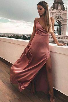 Long Prom Dresses Modest, 2019 Elegant Formal Dresses With Slit, A Line Pageant Dresses V Neck - Kleider -Mode/ Fashion Elegant Prom Dresses, A Line Prom Dresses, Prom Party Dresses, Pageant Dresses, Modest Dresses, Satin Dresses, Ball Dresses, Simple Dresses, Sexy Dresses