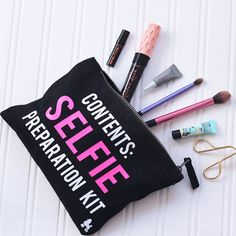 Selfie Preparation Kit Make Up Bag Small - Large Black Beauty Blogger Quote MakeUp Bag MUA Gift
