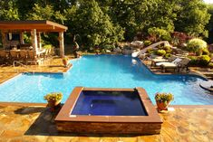 Pool Accessories to put at the top of your holiday list.  Swim up bar, hot tub, spa, geometric shaped pool