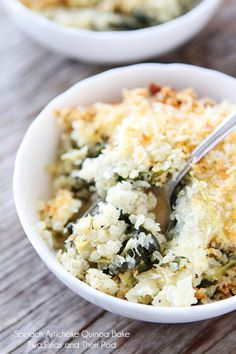 Spinach and Artichoke Quinoa Bake Recipe on twopeasandtheirpod.com One of our favorite meals!