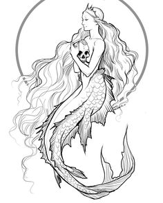 Sirens represent temptation, desire and risk. Only the strong can surface the si… Sirens represent temptation, desire and risk. Only the strong can surface the sirens music (if not, they siren takes their life) Mermaid Sketch, Mermaid Drawings, Mermaid Tattoos, Mermaid Paintings, Cool Drawings, Drawing Sketches, Tattoo Drawings, Skull Drawings, Siren Mermaid