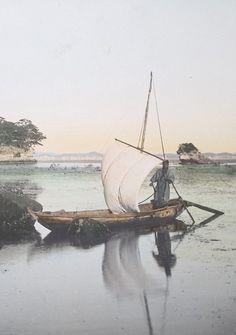 Fishing boat off the Japanese coast.  Detail from larger photo.  Hand-colored photo, 1910, Japan.  Photography  by Tamamura Kozaburo