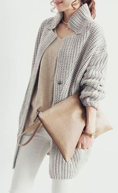 Gray knitted coat, beige purse. Street fall autumn women fashion outfit clothing style apparel @roressclothes closet ideas