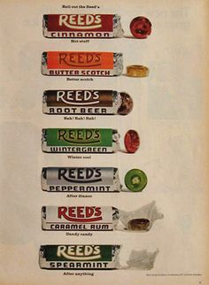 old candy and gum | 1968 Reeds Candy Ad, Vintage Candy & Gum Ads