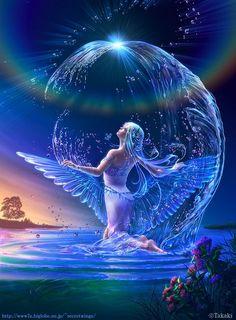 naiad - Beautiful Fantasy Art by Takaki Fairy Pictures, Fantasy Pictures, Angel Pictures, Nature Pictures, Anime Art Fantasy, Fantasy Girl, Fantasy Creatures, Mythical Creatures, Angel Artwork