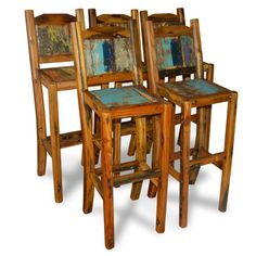 Tall Bar Chairs Made From Reclaimed Boat Timber Nautical Recycled Boatwood