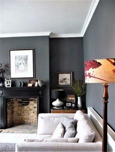 Dark grey walls. Victorian terrace lounge. Visit blog for more details.