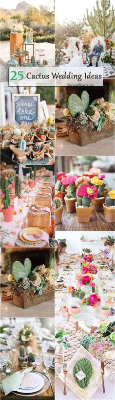 Cacti and succulents would add an unusual touch to your wedding. Potted cacti can become wonderful centerpieces, favors, you can use them for table runners, pla