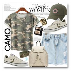 """""""Go Camo"""" by queenvirgo ❤ liked on Polyvore featuring Converse, Balenciaga, Lancôme and camostyle"""