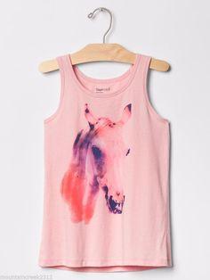 GAP KIDS Girls Shirt HORSE Graphic Tank Top Pink Kid New