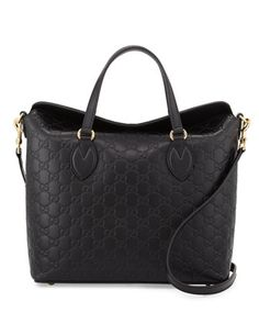 Guccissima+Leather+Top-Handle+Bag,+Black+by+Gucci+at+Neiman+Marcus.