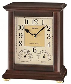 Seiko Preston Desk / Chiming Mantel Clock in a dark brown Alder case with a glass crystal and both Westminster and Whittington Chimes Wood Mantle, Mantel Clocks, Desk Clock, Preston, Seiko, Quartz, Crystals, Antiques