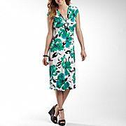 Jones Wear® Floral Print Ring Front Dress