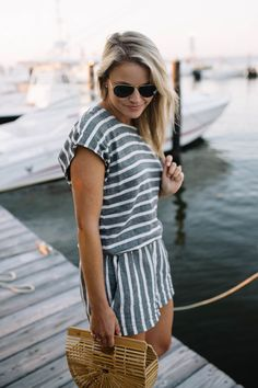 Blue and White Stripe Linen Romper // Summer romper