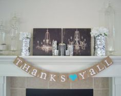 Thank You banner, Thanks Y'all, Thanks Y'all Wedding Sign, Thank You Prop,Southern Weddings, Barn wedding, rustic banner, thank you sign