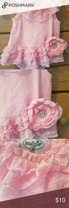 Mud pie newborn onesie pink ruffle 0-6 months Mud pie pink onesie with flower.  Super cute with ruffles 0-6 months Mud Pie One Pieces