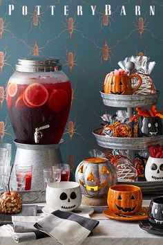 Set a spooky scene with Halloween decorations from Pottery Barn. Shop for faux pumpkins, skeletons and Halloween lights and set the stage for a scary Halloween party. Comida De Halloween Ideas, Soirée Halloween, Halloween Table, Halloween Home Decor, Halloween Food For Party, Halloween Birthday, Diy Halloween Decorations, Holidays Halloween, Party Party