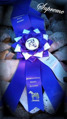 Supreme Champion sash for Sport, Stock and Show (sidetab will be added later saying which) Awarded once per horse and rider combination based upon tests ridden and scores.
