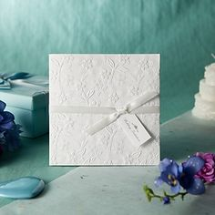 Classic White Side Fold Floral Embossed Square Wedding Invitations, 100 pcs/lot