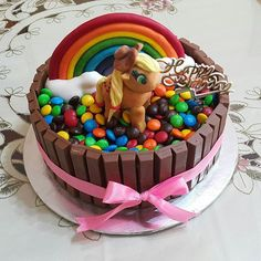 My little pony inspired birthday cake with M&Ms and kitkats