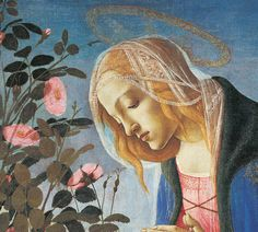 Detail of Madonna adoring the sleeping Christ child by Sandro Botticelli