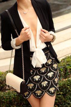 La by Diana: Deep Neckline + Black Sequin Skirt