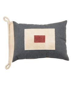 Creative Co-Op Rectangle Cotton Pillow with Blue Scooter Carrying Gifts
