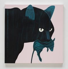 Buy Basil, a Acrylic on Canvas by Hilary Baker from United States. It portrays: Animal, relevant to: portrait, colorful, animal, graphic, humor, illustration A feral cat from the Predators series.  The Predators are portraits of city wildlife hiding in plain sight.  The combination of humor and a graphic sensibility lends a narrative quality to the work.