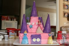 I think I could handle this- DIY princess cake with ice cream cone turrets!