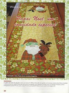 Resultado de imagem para caminho de mesa de natal com molde patchwork